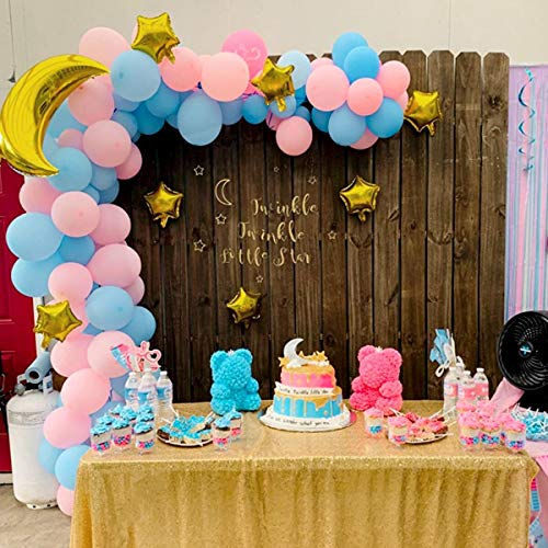 Gender Reveal Party Balloons Pink Blue 109 Pack, Gold Moon Star Balloons Garland Arch Kit for Boys Or Girls He Or She Baby Twinkle Twinkle Little Star Theme Party Decorations