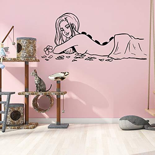 LSMYE 3D-Aufkleber Spa-Massage Wasserdichte Wandtattoos für Spa-Zimmer Vinyl-Wandaufkleber Wanddekoration Lila L 43 cm x 93 cm