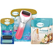 Amope Pedi Perfect Spa Experience Pampering Pack containing an electronic foot file, 2 pairs of macadamia oil foot masks and 2 refills (Packaging May Vary) (Pack of 1)