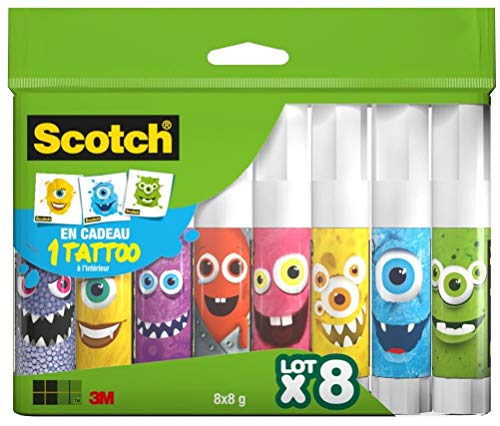 Scotch Bâtons de colle Transparent, Lot de 8