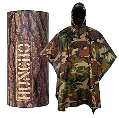 Rain Poncho with Breathable Zippers and Chest Pocket. Woodland Camo. Multi-Functional Gear, Waterproof, Lightweight and Tactical for Adults in Army, Military, Camping, Hiking, Hunting and Outdoors.