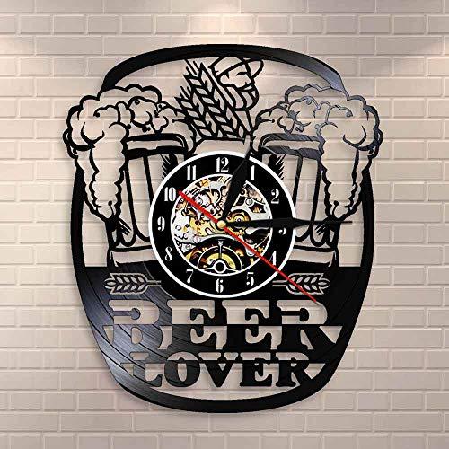 Usmnxo Taza Espuma Cerveza Pub Reloj de Pared Cheers Alcohol Disco de Vinilo Reloj de Pared Cerveza Reloj de Pared Cerveza Amante Vino Regalo con luz LED 12 Pulgadas (30 cm)