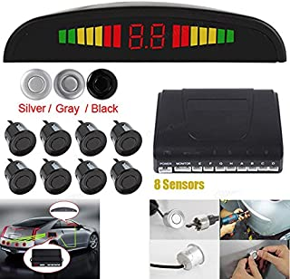 Omnibearing & Intelligent Parking Assistance System Contain Visual Digital LED Display & 8 Sensors (Black)