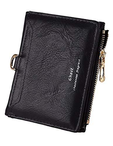Carteira feminina de couro com bolso e zíper para cartão, carteira de couro, carteira de embreagem, bolsa de mão