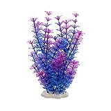 MAJFK 2 plantas de decoración de plástico para acuario, plantas acuáticas artificiales grandes, simulación, plantas hidropónicas, ornamentos para peceras, morado