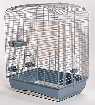 Cage à oiseaux Ollesch Elena - Chromée - Avec accessoires - Gris