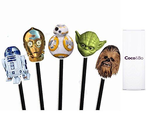 Coco & Bo 10x Star Wars héroes Cupcake Toppers–BB8R2D2C3PO Yoda y Chewbacca Tarta de Fiesta temática de Decoraciones y Accesorios