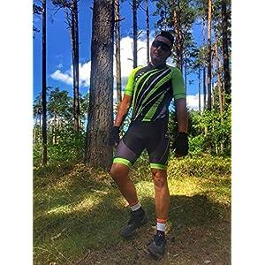 Ciclismo Conjunto de Ropa, Maillot Ciclismo y Culotte Pantalones Cortos con Banda elástica, 3 Bolsillos Traseros, Malla Transpirable y Cremallera Completa, Verde y Negro, L