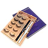 Benols Beauty 5 Pairs 3D Non Magnetic Eyelash and Magic Eyeliner Kit with 2 Smudge-proof Clear & Black Liquid Adhesive Eyeliner Pens – Silk False Eyelash Kit for All Occasions (Charming)