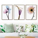 ライトショットの透明花キャンバスアート絵画プリントポスター画像壁リビングルーム家の装飾-42X60Cmx3いいえフレーム