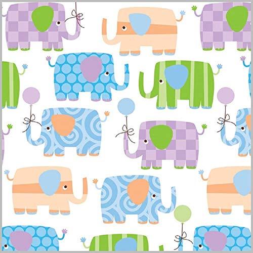 Baby Elephant Gift Wrap Flat Sheet 24' X 6'
