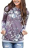 NEWCOSPLAY Women Hoodies-Tops Floral Printed Long Sleeve Drawstring Sweatshirt with Pocket (M, 0545Purple)