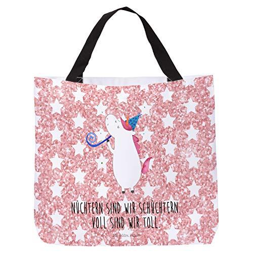 Mr. & Mrs. Panda Tasche, Henkeltasche, Shopper Einhorn Party mit Spruch - Farbe Glitzer Rosa