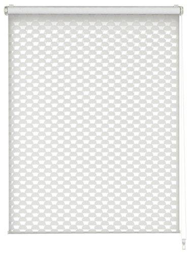 GARDINIA Estor doble para fijación o encolado, doble enrollable, transparente, opaco, todas las piezas de montaje incluidas, diseño circular, blanco, 100 x 150 cm (B x H)