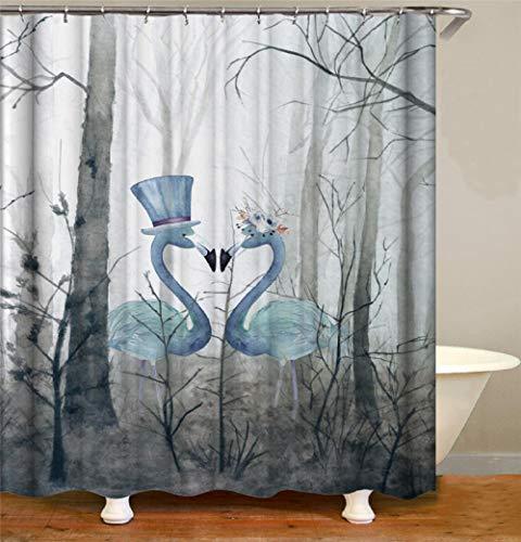 Mucert Tiermalerei Zwei Schwäne Duschvorhang 3D Digital Gedruckt Wasserdicht Verdickt Kein Geruch Kreativ Verblasst Keine Verformung Badezimmer -W180Xh180