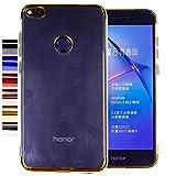 COOVY® Funda para Huawei P8 Lite/Honor 8 Lite (Model 2017) Ligera de silicio TPU, Ultrafina, Transparente con Bordes de Aspecto Cromado   Oro