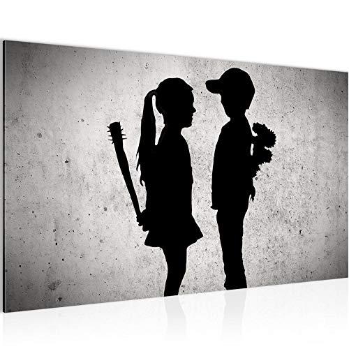 Bild Junge trifft Mädchen - Banksy Modern Wandbilder - 100% Made In Germany - Street Art Grau Flur 302114a