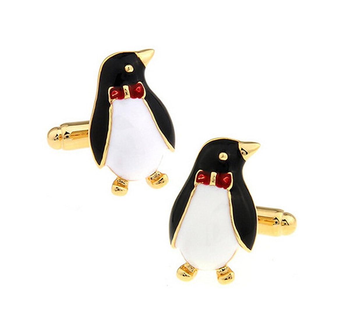 影響力のある大理石乳Doitsa カフス ボタン カフス 袖釘 飾り ペンギン シンプル オフィス メンズ シャツカフス ユニセックス 結婚式 会議 パーティー 贈り物 ゴールド 1ペア