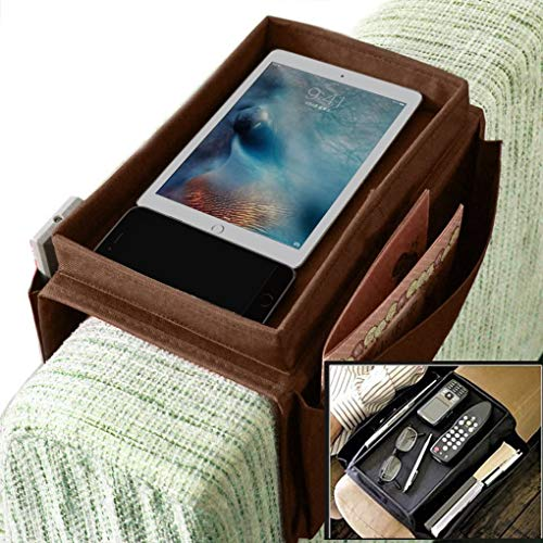 Sturdy Couch Sofa Armrest Organiser Tray Sofa Bedside Caddy TV Remote Storage Pocket Bag for Cellphone Tablets Magazines DVD Glasses Snacks Holder Pouch (Coffee)