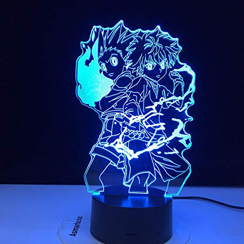 Hunter X Anime Led Night Light Killua Zoldyck Figura Nightlight,Cambio de color Batería USB Mesa Lámpara 3d Regalo