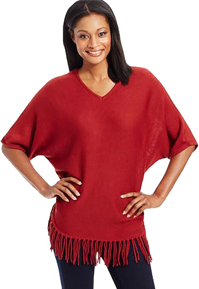 NY Collection Women's Elbow Dolman Sleeve Solid Wide Crew Neck Rounded Bottom Fringed Pullover Sweater