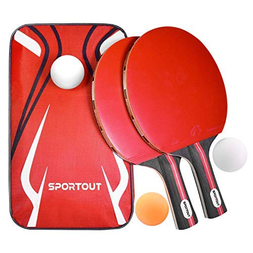 EasyroomTable Tennis Racket Bat Set, Pingpong Paddle with 2 Bats and 3...