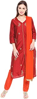 Imara Womens V Neck Embroidered Pants Suit