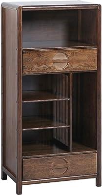 ダブル引き出し クルミの木 書棚, オープンラック ヴィンテージ 多機能 収納オーガナイザー ラック 棚ディスプレイ ラック 自宅やオフィスの-A 53x32.5x111cm(21x13x44inch)