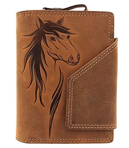 echt Leder Damen Geldbörse mit Außenriegel Jockey Club Pferd naturbelassenes Büffelleder Cognac braun mit RFID Schutz