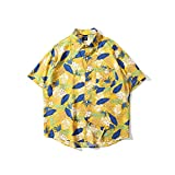 Camisa Hombres De Playa Hawaii - Pequeño Estampado De Flores Y Frutas Funky Casual Hombre Blusa De Bolsillo Frontal con Botones Manga Corta Camisa Bohemia Vintage Slim Fit Regular Fit, I, XXL