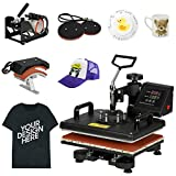 F2C Pro 5 in 1 Combo Heat Press Machine T-Shirt Hat Cap Mug Plate Digital Transfer Sublimation Machine New Black (5 in 1 Swing Away)