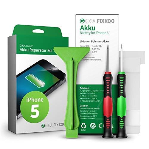 GIGA Fixxoo accu reparatieset compatibel met iPhone 5 | Eenvoudige vervanging met handleiding en gereedschap in de set bij defecte batterij, snelle vervanging