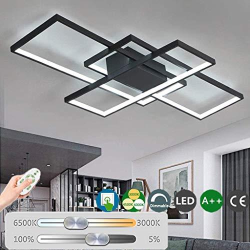Lámpara De Techo Moderna LED Regulable Plafón para Sala De Estar Lámpara Acrílico De 3 Rectangular De Diseño Dormitorio Decoración Cocina Oficina Araña De Luces con Control Remoto,Negro,140cm