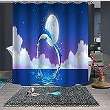 Dolphin Impresión Digital Poliéster de baño Cortina de Ducha Impermeable-7_90x180cm
