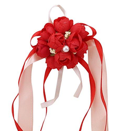 Weisin - Set di bouquet da polso e boutonniere con fiori di seta, con strass e cristalli, per matrimonio, damigella d'onore, ballo di fine anno, colore: rosso