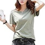 [ビーコ] サラッとTシャツ 半袖 アクセントボタン 緑 カーキ XL(日本サイズM相当)
