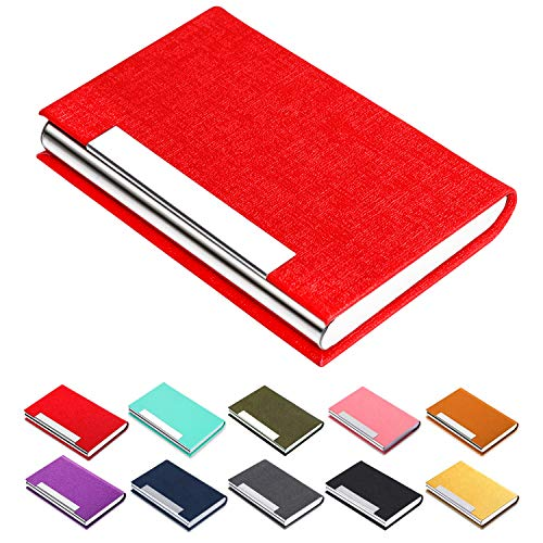Business Card Holder - JuneLsy Business Card Case Luxury Leather Stainless Name Card Holder Luxury PU Leather & Stainless Steel Multi Card Case Wallet Credit Card ID Case/Holder for Women (red-7)