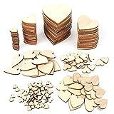 Anruyi 600Pcs Corazones de Madera Pequeños Rebanadas de Corazón de Madera Natural para Decoración de Bodas Manualidades de Bricolaje Decoración del Hogar (1cm,2cm,3cm,4cm)