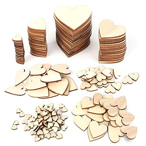 Anruyi 600 PCS cœur en bois coeur en bois mariage Bois de Coeur coeur décoration en bois embellissements de coeur en bois pour Artisanat Décoration Bricolage Mariage Embellissement