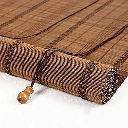 MLECA Bambusrollo Natür Vintage Jalousien Holzrollo Handgewebt Raumverdunkelung Rollo Bambus Roman Blind mit Lifter-90x180cm/35x70inch