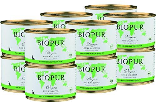 BIOPUR Bio Hundefutter Vegan, Reis & Karotten für Hunde 12x400g
