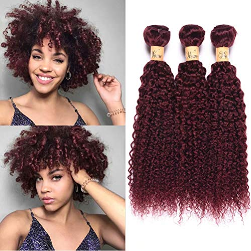 "WOME Remy Peruvian Curly Human Hair Bundles 3 Bundles Burgundy Red Kinky Curly Human Hair Weave Weft Extension(10"" 12"" 14"",Burgundy color 99J)"