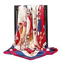 女性のためのスカーフ シルクスカーフ女性スクエアヘッドスカーフレディースショールラップマフラーパレオバンダナ女性シフォンハイジャブポンチョウールスカーフスカーフ スカーフショール (Color : 60, Size : 90X90cm)