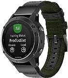 Chainfo Correa de Reloj Compatible con Garmin Fenix 6X Pro/Fenix 6X Sapphire/Fenix 3 / Fenix 5X Plus/5X Sapphire, Lienzo Correa Relojes del ejército (Pattern 1)