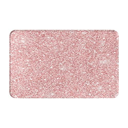 Marutuki Alfombra Decorativa para el Baño,Brillo de Oro Rosa,Alfombra de Baño Suave Antideslizante Micro Felpa,80 x 49 cm