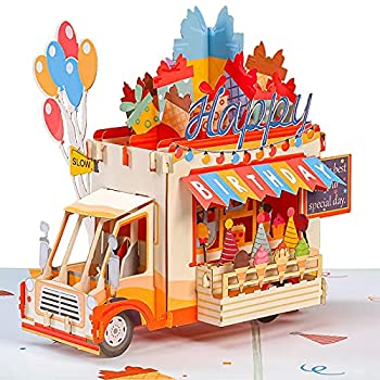 Paper Love Happy Birthday Ice Cream Truck Pop Up Card Handmade 3D Popup Greeting Cards For Kids | 5  x 7
