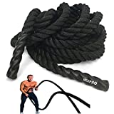 NEXPRO Battle Rope Polydac Undulation Rope Exercise Fitness Training - 2' Width Avail. in 30ft, 40ft, 50ft Length Black (30 Ft Length.)