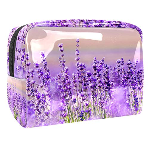 Cosmetic Bag for Women,Roomy Makeup Bags,Lavender Flower Violet Mauve,Travel Waterproof Toiletry Bag Accessories Organizer