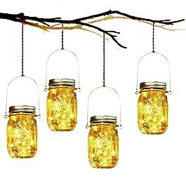 Lumière de Jardin Solaire – 4 Pièces Lanterne de Verre Solaire Imperméable Mason Jar Lanterne Jardin Exterieur pour…