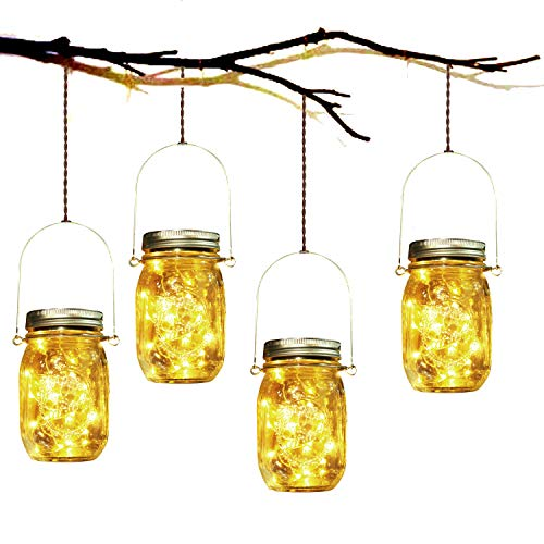 Solar Garden Lights - 4 Pack Solar Mason Jar Lights Garden Hanging Lantern 30 LED Waterproof Solar String Decorative Lights Indoor/Outdoor Lighting for Courtyard Wedding Party Christmas (Warm White)